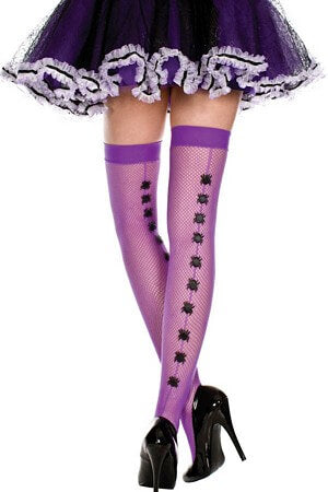 Purple Spider Backseam Thigh High