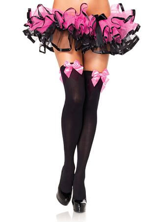 Black and Pink Opaque Thigh High with Bow
