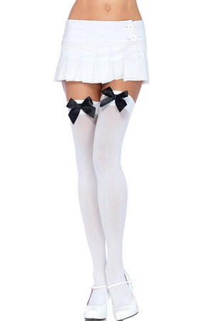 White and Black Opaque Thigh High with Bow