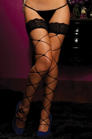 Large Net Thigh High W/Lace Top