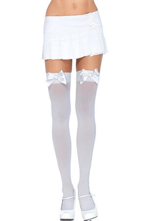 White Opaque Diva Thigh High with Bow