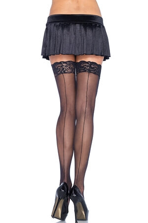 Black Back Seam Diva Stockings with Lace Top