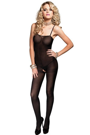 Opaque Bodystocking with Open Crotch
