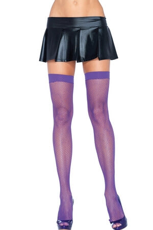 Purple Fishnet Thigh High