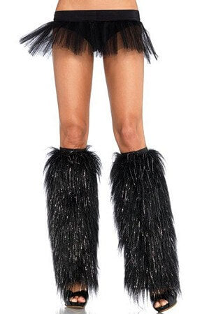 Black/Silver Furry lurex leg warmers