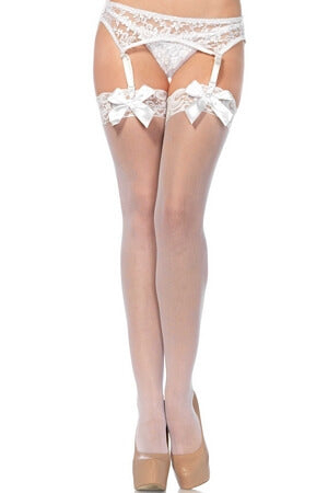 White Lace Top Thigh High Stockings with Bow