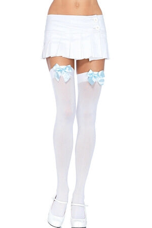 White and Blue Opaque Thigh High with Bow