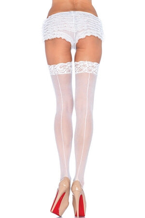 White  Lace Top Stockings with Back Seam