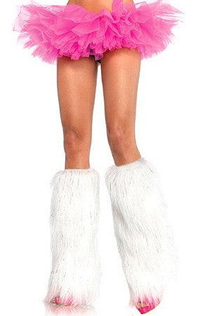 White/Silver Furry lurex leg warmers