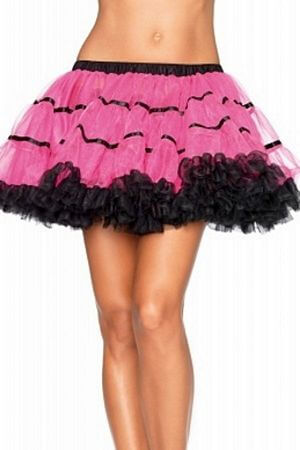 Pink and Black Layered Striped Petticoat