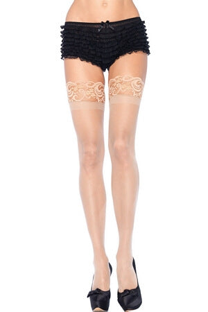 Queen Sheer Thigh High Stockings with Lace Top