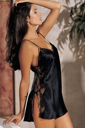 Black Charmeuse And Dyed Lace Chemise