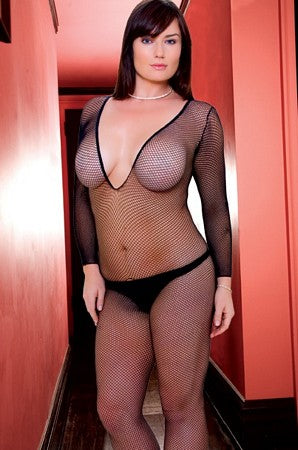 Deep V Neck Crotchless Bodystocking