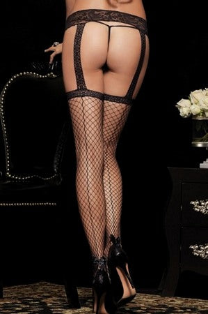 Net Garterbelt Stockings with Backseam and Bow