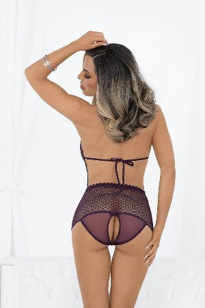 Lace Up Open Crotch And Open Back Teddy