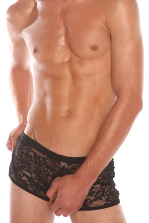 Black Men's Crotchless Lace Briefs