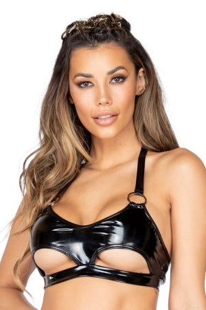 One Piece Latex Crop Top with Underboob Cutout And Ring Detail