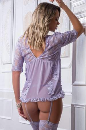 Open Lace & Sheer Embroidered Chemise