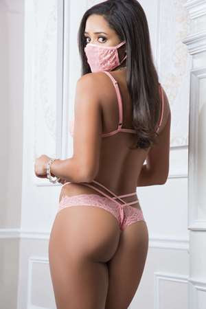 Two Piece Pink Mask Up Lacy Teddy