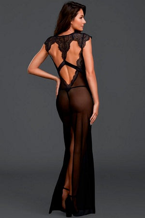Plunging Lace Long Gown