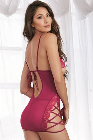 Raspberry Sultry Chemise Set