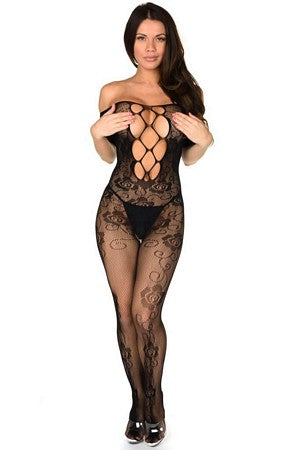 Off The Shoulder Fishnet Bodystocking