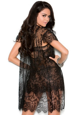 Eyelash Lace Babydoll & Robe Set