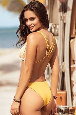 Tuscany Yellow Striped Bikini
