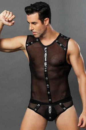 Mens Sheer Black 2 Pc Set