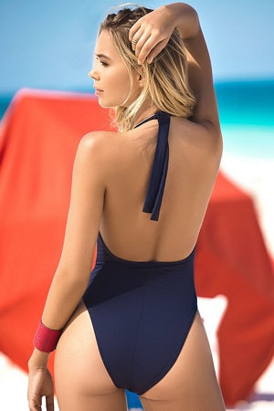 Plunging Navy One Piece Swimsuit