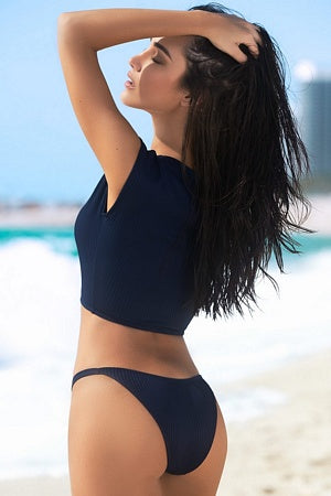 Navy Ribbed Two Piece Swimsuit