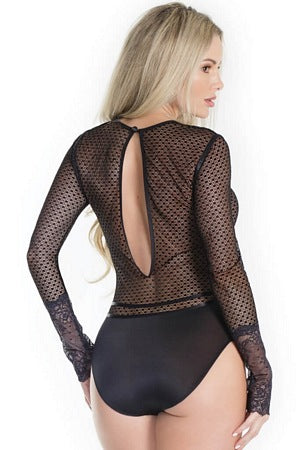 Lovely Long Sleeve Net Teddy
