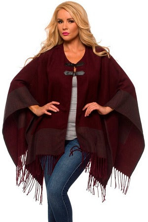 Merlot Wrap With Buckle and Fringe