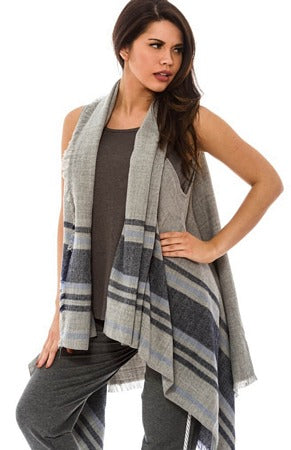 Grey Blue Striped Vest Wrap