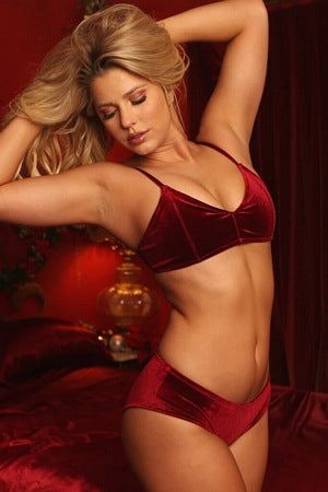 Wine Velvet Kiss Bra Set