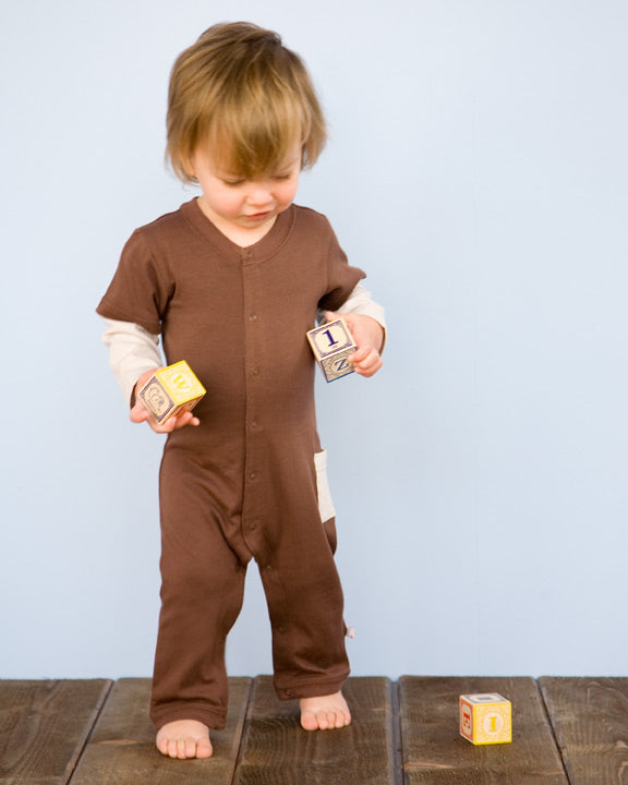 babysoy chocolate baseballl coverall