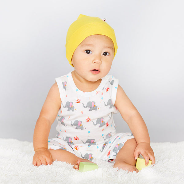 babysoy pattern elephant sleeveless romper