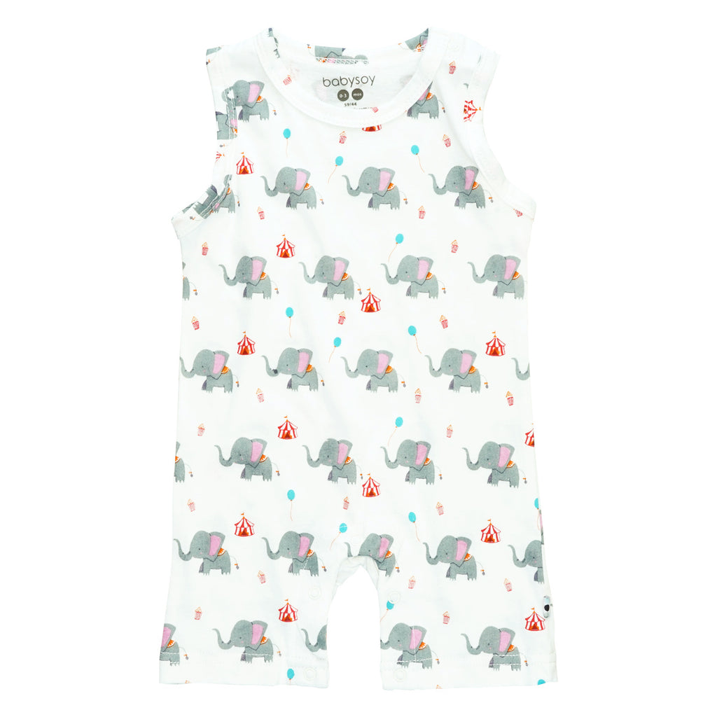 Pattern Elephant Sleeveless Romper