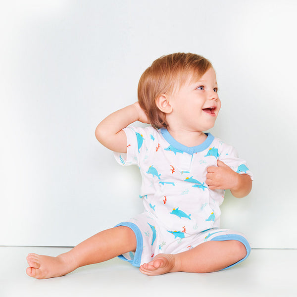 babysoy pattern dolphine short sleeve pocket romper