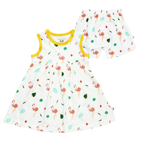 Flamingo Dress with Bloomer