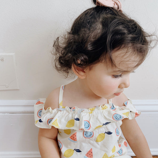babysoy ruffle shoulder dress