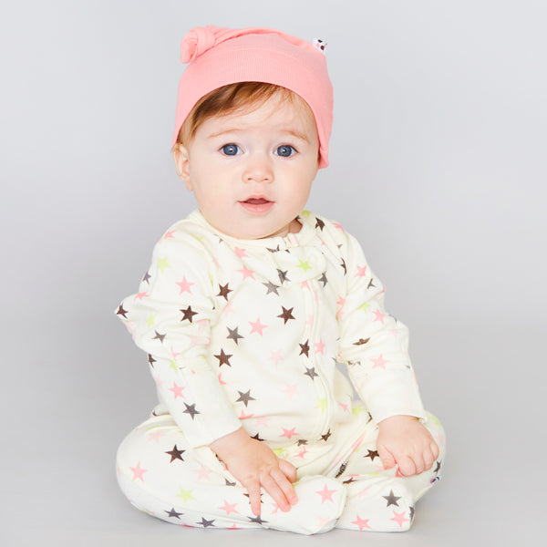 babysoy star pattern long sleeve zipper footie coveralls