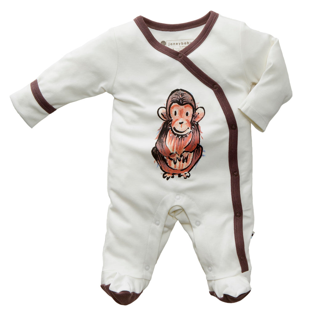 Babysoy Jane Goodall Endangered Animal Print Footie/Romper