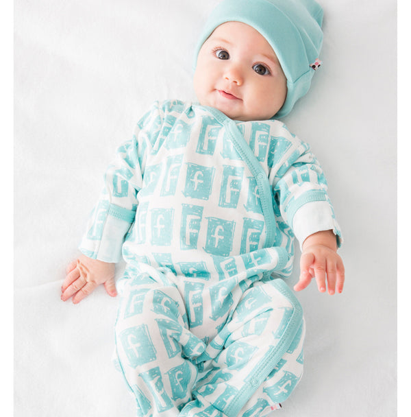 babysoy alphabet pattern footie/coverall