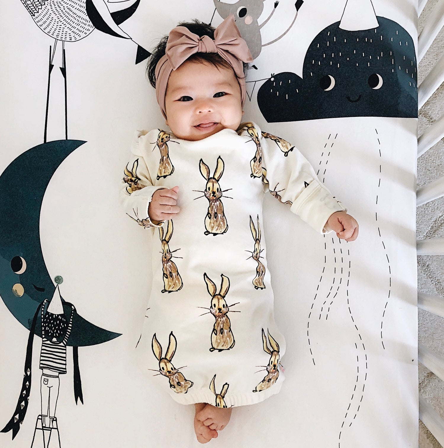 Babysoy Long Sleeve Baby Infant Animal Pattern Gown//Newborn Sleep sac with Mittens