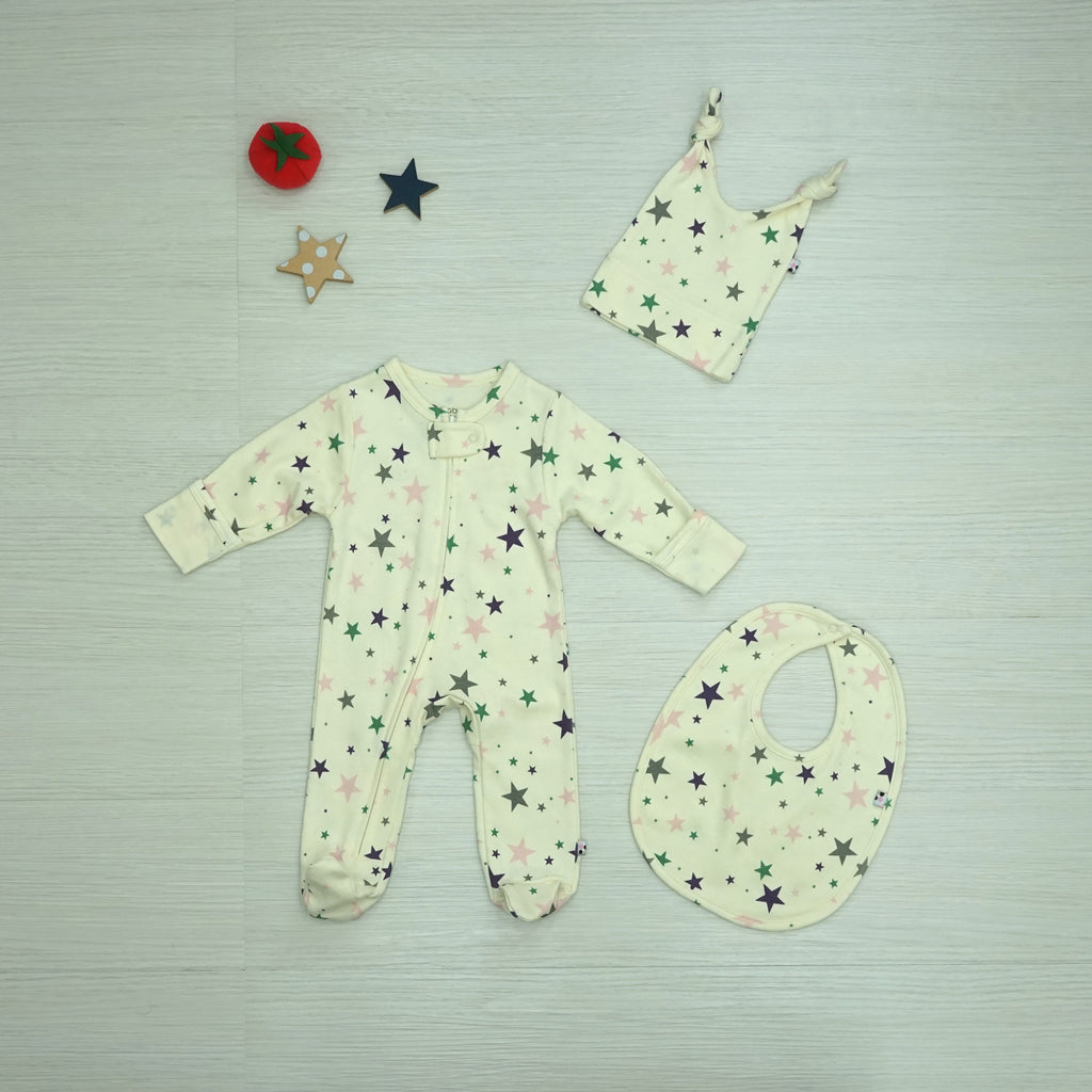 Babysoy Star Zipper Footie Gift Set