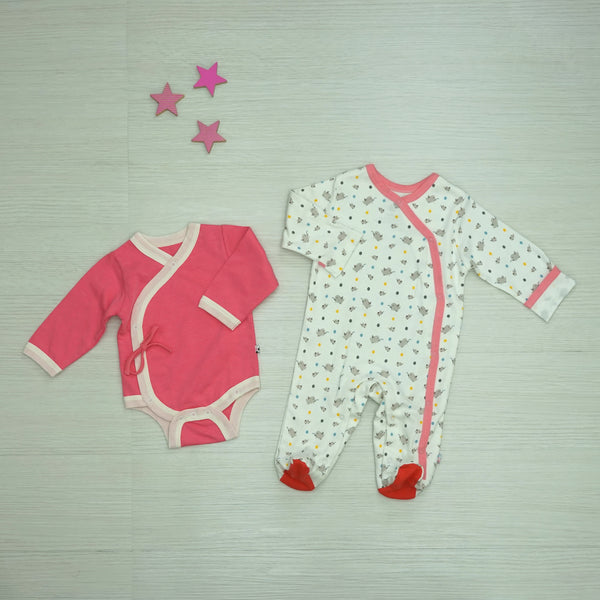 Babysoy Pattern Animal Footie & Solid Bodysuit Set