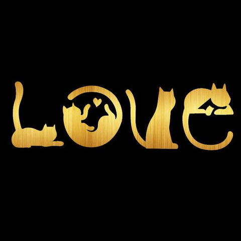 2722 - Vehicles & Parts > Vehicle Parts & Accessories > Vehicle Maintenance, Care & Decor > Vehicle Decor > Vehicle Decals - Cats Spell LOVE - Auto Decal