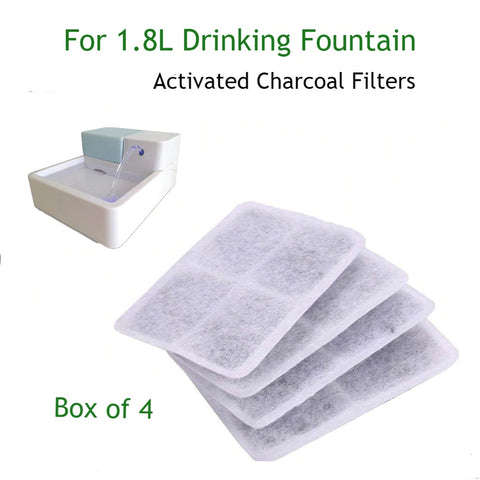 Animals & Pet Supplies > Pet Supplies - 4pk Square Activated Carbon/Charcoal Filters For 1.8L LED Drinking Fountain For Pets