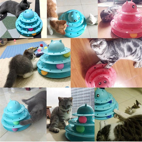 Animals & Pet Supplies > Pet Supplies > Cat Supplies > Cat Toys - 3 Track Ball Tower - Interactive Cat Toy